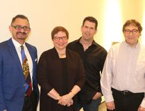 Artist Edward Bader (left), curator Nancy Tousley, artist Marc Courtemanche and curator Peter White are just some of the contributors to the latest exhibits which opened Sept. 30 at the Art Gallery of Grande Prairie. The shows include Galt Gardens, Contested Grounds (Bader); White Nurse (Blair Brennan); Unstylized Artisan: The Crafting of Still Life (Courtemanche); and A Sublime Veracular: The Landscape Paintings of Levine Flexhaug (White/Tousley). Jocelyn Turner/Daily Herald-Tribune