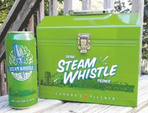Steam Whistle has released six tall boys in a 1950s-style construction workers' metal lunch box with embossed lettering for $24.95.