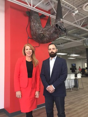 Wendy Smith, president, and David Basacco, managing director of the new Rhinoactive division, have moved into a bigger space downtown. (Hank Daniszewski/The London Free Press)