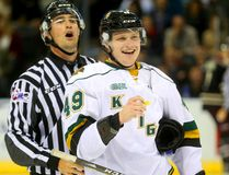 Knights forward Max Jones laughs his way to the penalty box against the Peterborough Petes at Budweiser Gardens on Friday night. (MIKE HENSEN, The London Free Press)