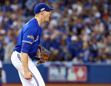 Aaron Sanchez of the Toronto Blue Jays gets the final out in the 5th inning against the Texas Rangers during game #3 of the ALDS at the Rogers Centre in Toronto, Ont. on Sunday October 9, 2016. Dave Abel/Toronto Sun/Postmedia Network
