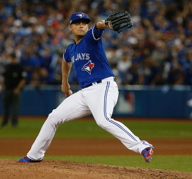 Toronto Blue Jays Roberto Osuna on the mound during the 10th inning during ALDS Game 3 in Toronto, Ont. on Sunday October 9, 2016. Jack Boland/Toronto Sun/Postmedia Network