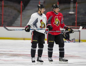 Ottawa Senators Kyle Turris and Dion Phaneuf during practice at the Canadian Tire Centre on Sept. 27, 2016. (Errol McGihon/Postmedia)