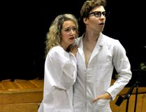 Mara Fraccaro as Janet (left) and Patrick Avery-Kenny as Brad rehearse a scene from The Rocky Horror Show in London Ont. September 29, 2016. CHRIS MONTANINI\LONDONER\POSTMEDIA NETWORK
