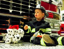Two-year-old Nicholas Bolt is dressed for the occasion at the Winkler Fire Department Open House Oct. 12, 2016. (Alexis Stockford/The Winkler Times)
