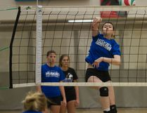 Kirsten Drummond of the Keyano Huskies women's volleyball team hits a shot over the net at practice Wednesday. Losing several veteran players in the offseason, this year's Huskies will be younger, but still hope to return to the ACAC's playoffs. Robert Murray/Fort McMurray Today/Postmedia Network