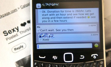 """Arrangements (phone number blurred at police request) for a """"date"""" is shown on a smartphone in a northeast Calgary hotel on Thursday October 13, 2016. Calgary Police and RCMP conducted an joint operation targeting escorts with the intent of gathering information to make the workers safe in their high-risk lifestyle. The workers were also offered counselling and information to help them exit the sex trade with the help and support  of organizations and the police. Jim WellsPostmedia"""