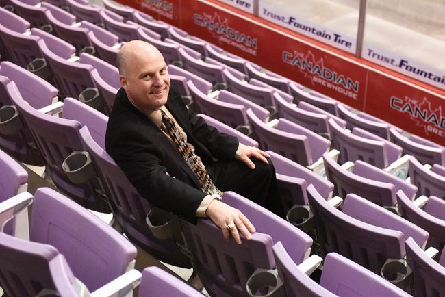 Revolution Place new general manager Scott Clark is pictured seated in the stands of the arena. Clark took over from former general manager Jane Cada-Sharp about a month ago. 