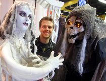 Tyler McDuffe displays some of the animatronic items for Hallowe'en at the Party Store in Winnipeg, Man. Monday October 17, 2016. Brian Donogh/Winnipeg Sun/Postmedia Network