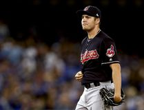 Trevor Bauer #47 of the Cleveland Indians looks on in the first inning against the Toronto Blue Jays during game three of the American League Championship Series at Rogers Centre on October 17, 2016 in Toronto, Canada. (Photo by Elsa/Getty Images)