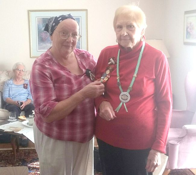 Member Mildred Griffith recently received her 70 year pin from President Sylva Hasberry. Mildred is a very dedicated member of Bervie Women's Institute and was presented the honour at a recent meeting.