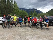 Members of Bikepack Canada smile for a photo before the group's first overingiht ride from Canmore to Boulton Creek in July 2016. Supplied.