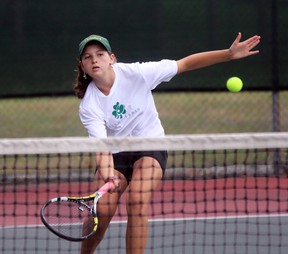 Ashley Gregoris of the St. Patrick's Fighting Irish volleys the ball during the SWOSSAA tennis championships at the Sarnia Tennis Club on Tuesday, Oct. 18, 2016 in Sarnia, Ont. High school players from Windsor, Chatham-Kent and Sarnia-Lambton competed to advance to OFSAA. (Terry Bridge/Sarnia Observer/Postmedia Network)