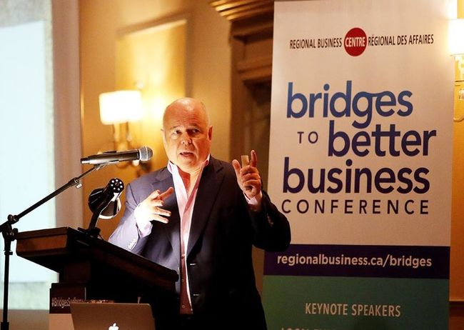 Terry O'Reilly was the keynote speaker at the 17th annual Bridges to Better Business Conference on Tuesday.(Gino Donato/Sudbury Star)