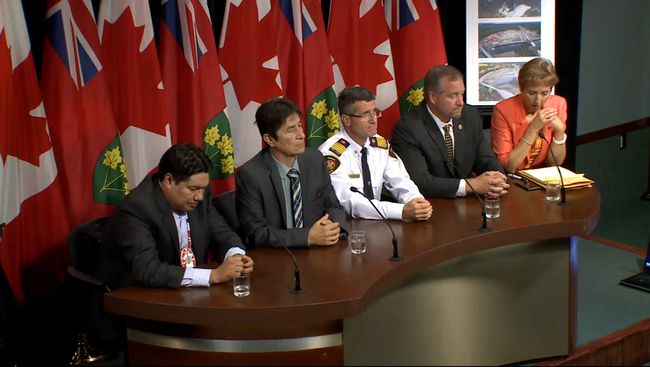 Nishnawbe Aski Nation Deputy-Grand Chief Derek Fox, from left, Mattagami First Nation Chief Walter Naveau, Gogama Fire Chief Mike Benson, and MPPs Michael Mantha and France Gélinas held a press conference at Queen's Park on Tuesday calling for a complete clean-up of the Makami River before the winter freeze.