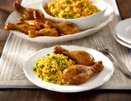 Sweet curry drumsticks with basmati pilaf.