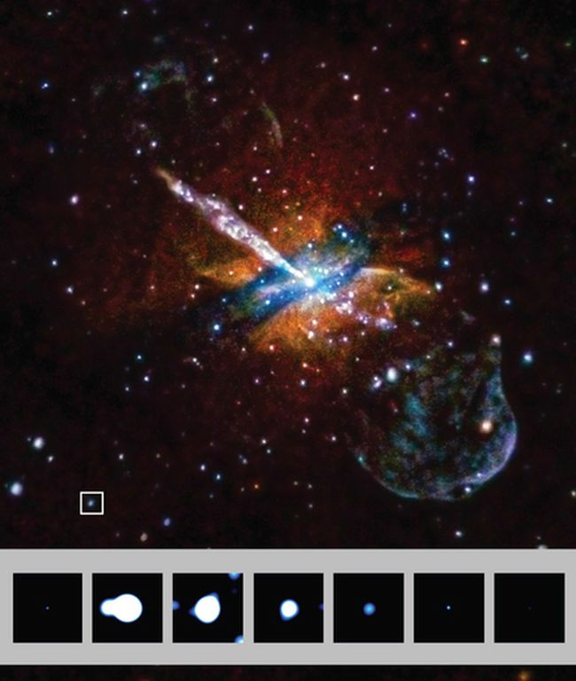 Ultraluminous X-ray burst image captured by the Chandra X-ray Observatory. Photo credit: Harvard-Smithsonian Center for Astrophysics.