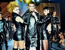 Models pose as they walk in the 2008 Xpose Fetish Fashion Show. Northbound Leather in-house designer Marty Rotman described the scene as a 1980s tribute, with the apparel showing offa Punky Zip Collection. (Supplied By Northbound Leather)