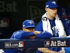 Blue Jays pitchers Marcus Stroman and Aaron Sanchez watch late in Game 5 of the American League Championship Series against the Indians in Toronto on Wednesday, Oct. 19, 2016. Stan Behal/Toronto Sun