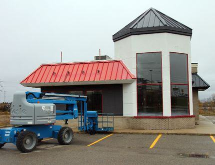 Work at the former Burger King location on Algonquin Boulevard has begun to turn it into a Swiss Chalet/Harvey's combination restaurant.