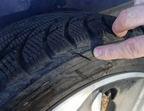 A resident posted this photo on social media showing a slash he found on his tire. (Photo courtesy Facebook)
