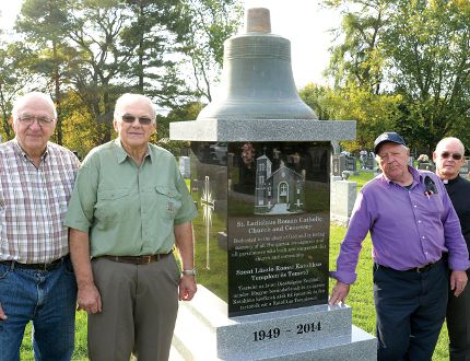 From left are Nick Balint, John Tamcsu, Mike Fody, and Father Alan Dufraimont. Absent for the photo: John Zei and Vendel Szucsko. (CHRIS ABBOTT/TILLSONBURG NEWS)