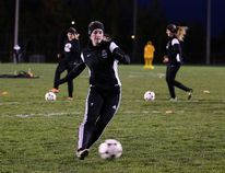 Members of the Cambrian Golden Shield women's soccer team run through some drills during team practice in Sudbury, Ont. on Thursday October 20, 2016. Gino Donato/Sudbury Star/Postmedia Network
