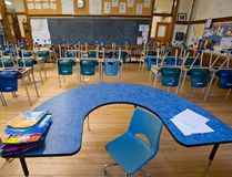 <p>The empty classroom of an elementary school is seen in this file photo.</p><p> (Clifford Skarstedt/Postmedia Network)