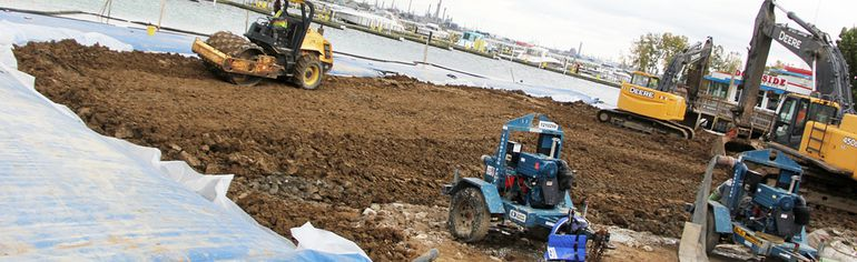 Work continues on the new boat launch near Centennial Park. Soil quality and other issues have caused some unexpected delays and expenses in the ongoing park reconstruction project. (Tyler Kula/Sarnia Observer/Postmedia Network)
