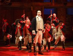 """The Public Theater shows Lin-Manuel Miranda, foreground, with the cast during a performance of """"Hamilton,"""" in New York. (Joan Marcus/The Public Theater)"""