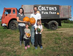Lindsey and Todd Gallant, along with their children, Ainsley, 4, and Shane, 7, opened a non-profit fun farm to benefit Sick Kids Hospital in Toronto. Now, Shane is being treated for a brain tumour. (Susan Gamble/ Expositor file photo)
