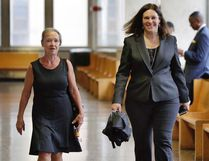 Julie Patz, left, mother of Etan Patz, arrives at court in New York with Assistant District Attorney Joan Illuzzi-Orbon, to testify in the retrial of Pedro Hernandez, Friday, Oct. 21, 2016. After a jury deadlock last year, Hernandez is back on trial for kidnapping and killing 6-year-old Etan Patz in 1979. (AP Photo/Richard Drew)