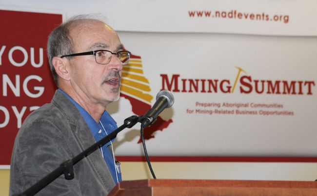 KWG vice-president Moe Lavigne speaks about the Ring of Fire at the sixth-annual Nishnawbe Aski Development Fund Mining Summit held in Timmins on Thursday.