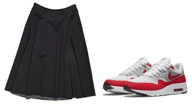 Humanitarian skirt, $89, Bench.caWITHNike Air Max 1 Ultra Flyknit, $215, Foot Locker locations and Nike.com/ca