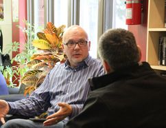 Markus Schwabe, host of CBC Morning North, was among the many experts on hand Saturday at the Powassan library.