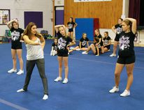 Toronto choreographer Candace Prontack works with Beaver Brae Broncos Cheerleaders on Friday, Oct. 21 to help the girls develop their competitive routine for the World High School Cheerleading Championships at Orlando, Florida in February 2017. REG CLAYTON/Miner and News