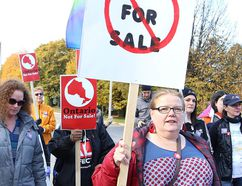 A rally was held to protest the privatization of Hydro One and rising hydro rates on Saturday. (John Lappa/Sudbury Star)