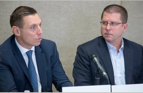 Ontario PC Leader Patrick Brown (L) and Ottawa-Vanier candidate André Marin (R) held a media availability Monday morning following a roundtable discussion on community safety. (Wayne Cuddington, Postmedia)