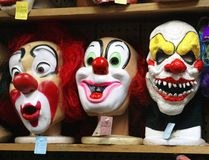 Clown masks are displayed at the Fantasy Costumes HDQ. store October 17, 2003 in Chicago, Illinois. (Tim Boyle/Getty Images)