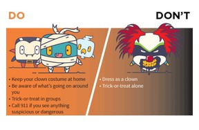 An illustration on York Region's website on Halloween safety advises kids not to dress as a clown this year (screen grab)