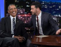 President Barack Obama talks with Jimmy Kimmel in between taping segments of Jimmy Kimmel Live! at the El Capitan Entertainment Center in Los Angeles, Monday, Oct. 24, 2016. (AP Photo/Susan Walsh)