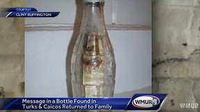 A bottled message sent out to sea by a New Hampshire man was returned to his daughter more than five decades later. (WMUR-TV/YouTube screengrab)