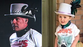 (Gord Downie on the left and Bentley on the right. (THE CANADIAN PRESS/Darryl Dyck/Facebook/Shannon White)