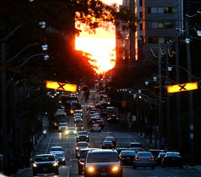 St Clair Ave. looking west from Mt Pleasant at sunset on Tuesday, Oct. 25, 2016. (Michael Peake/Toronto Sun)