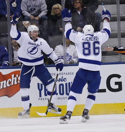 Tampa Bay Lightning centre Steven Stamkos (91) celebrates his first goal  in Toronto on Tuesday October 25, 2016. Craig Robertson/Toronto Sun/Postmedia Network