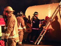 Firefighters from four departments were among those who responded to a mock mass casualty incident Oct. 19, 2016, in Morden. (Alexis Stockford/The Morden Times)
