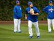 Chicago Cubs' Kyle Schwarber works out in the outfield during batting practice for Game 3 of the Major League Baseball World Series against the Cleveland Indians on Oct. 27, 2016. (AP Photo/Charles Rex Arbogast)