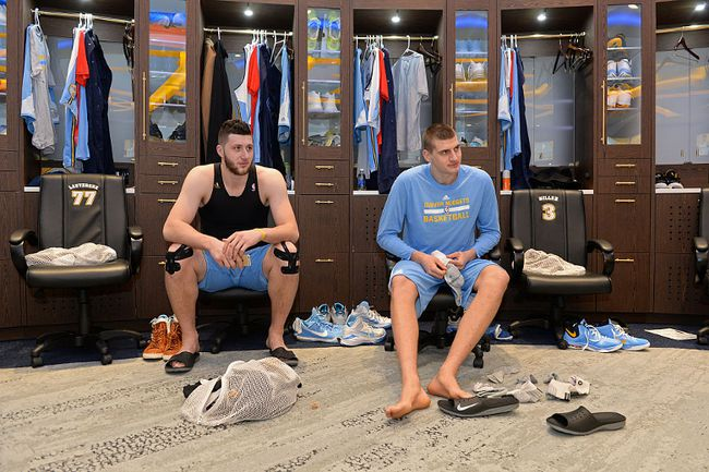 Jusuf Nurkic and Nikola Jokic of the Denver Nuggets get ready before the game against the Memphis Grizzlies on Jan. 21, 2016 at the Pepsi Center in Denver. (Garrett Ellwood/NBAE via Getty Images)