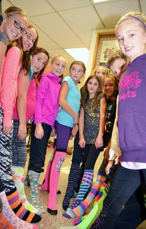 As part of the week-long Socktober campaign at Upper Thames Elementary School (UTES), students were invited to wear their most outrageous socks to school Oct. 28, where they got to dance their hearts out at a Sock Hop in the gym. GALEN SIMMONS MITCHELL ADVOCATE