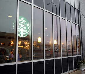 The Starbucks coffee shop at the Health Sciences Centre is seen Monday. Several shots were fired at the shop Sunday evening. There were no injuries. (Brian Donogh/Winnipeg Sun)